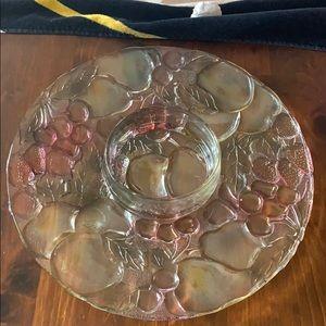 Indiana Glass Rainbow Garden Chip 'n' Dip Plate